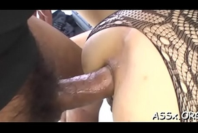 Cute asian hottie experiences outr' anal shafting